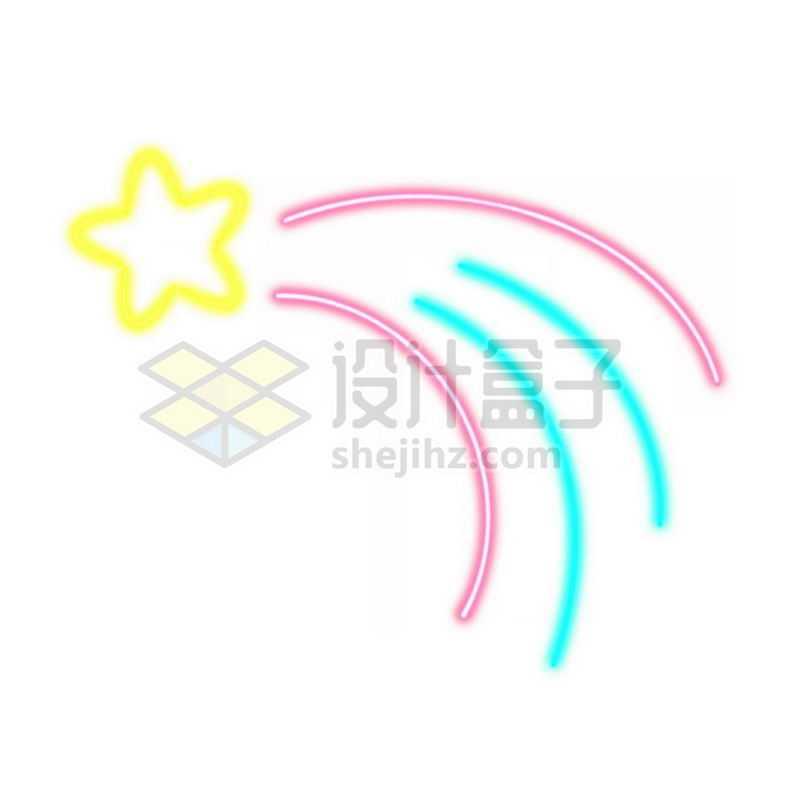 霓虹灯风格发光线条卡通黄色五角星象征了流星4339399免抠图片素材