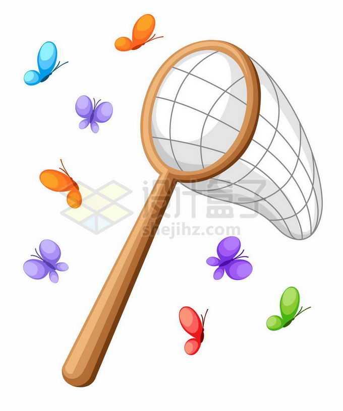 春天里的卡通捕虫网和蝴蝶儿童节插画3325093矢量图片免抠素材