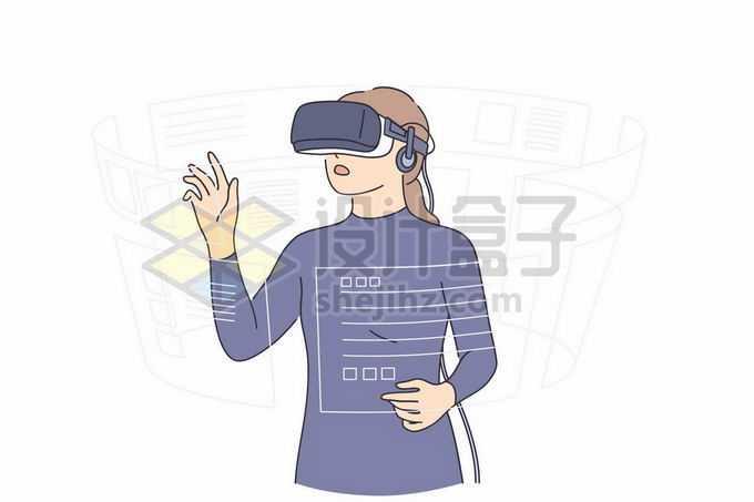 女孩戴着VR虚拟现实眼睛正在操作电脑手绘线条插画9420273矢量图片免抠素材