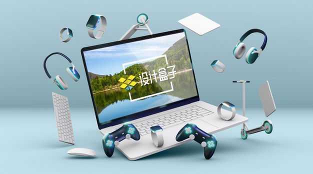灰色的笔记本电脑屏幕显示样机和飞舞的IT数码产品4812982图片素材