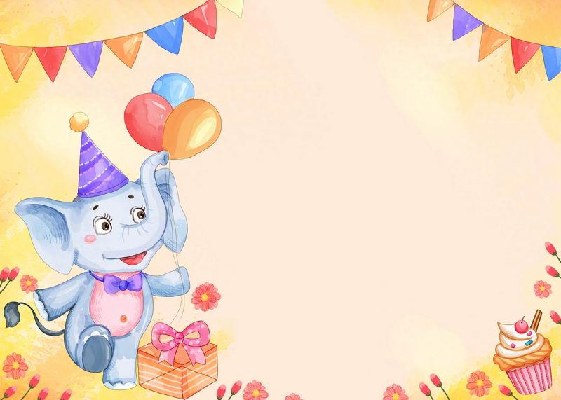卡通小象儿童生日背景图1264771图片素材 背景-第1张