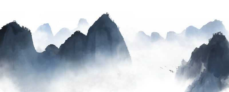 中国水墨画风格的大山云海风景图7828740免抠图片素材
