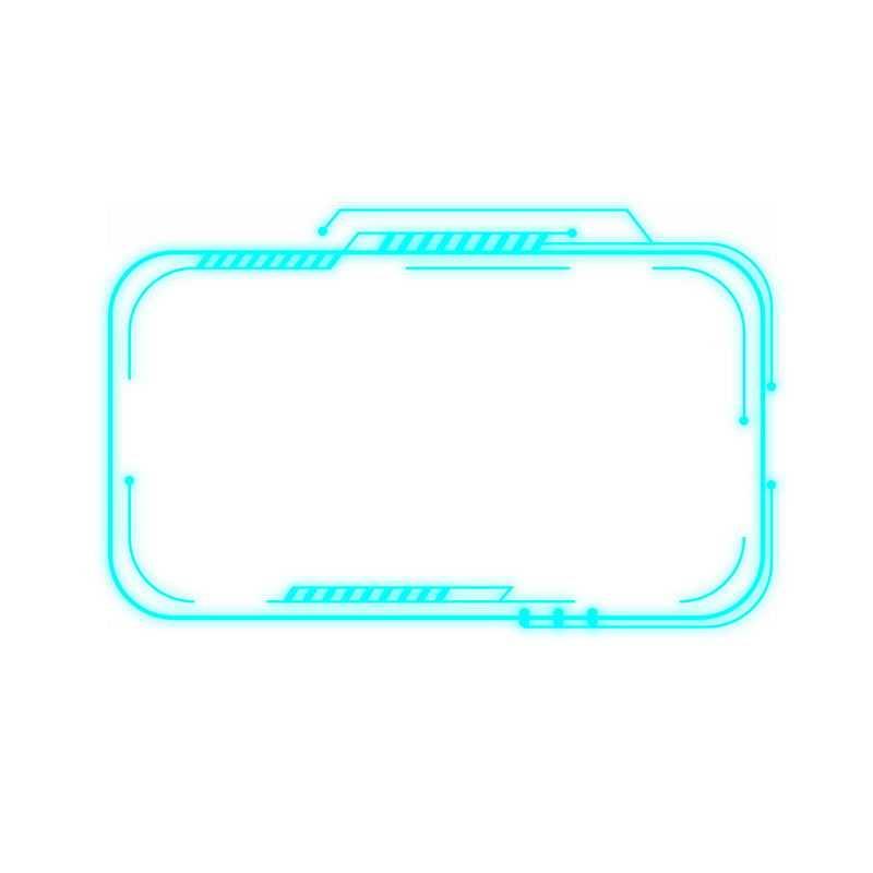 天蓝色科技风格发光线条信息框文本框7901898免抠图片素材