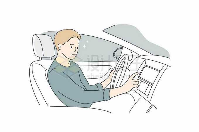 男司机正在汽车内操控中控屏幕手绘线条插画5828339矢量图片免抠素材