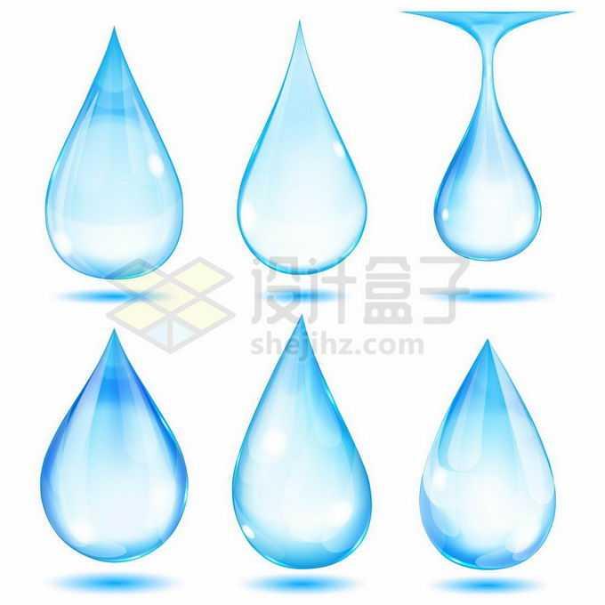 6款蓝色的水滴效果2268995矢量图片免抠素材