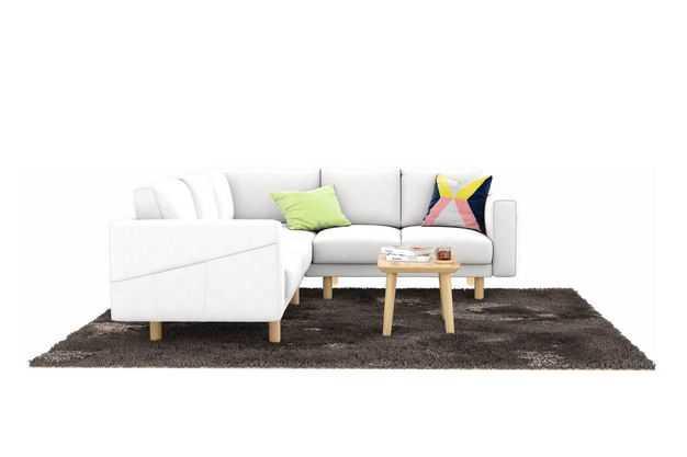 L型白色布艺沙发和木头茶几地毯客厅装修家具3586309免抠图片素材