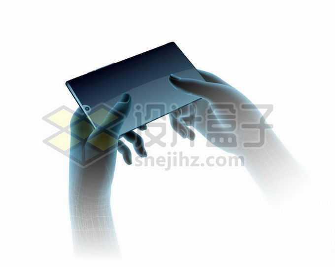 3D立体深蓝色科技感双手捧着手机8694494矢量图片免抠素材