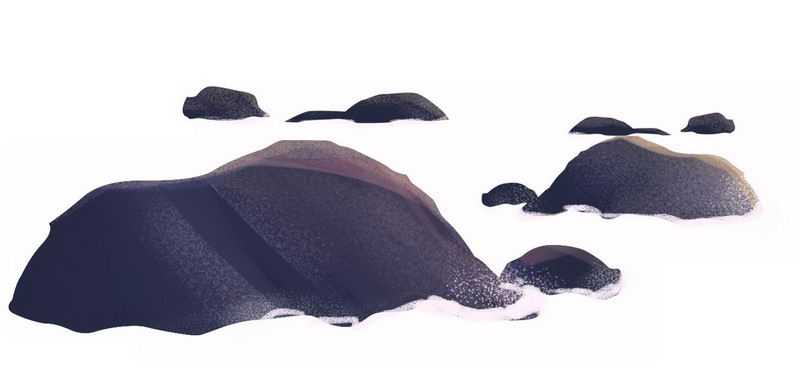 海洋海水中的礁石小岛手绘插画4991787免抠图片素材