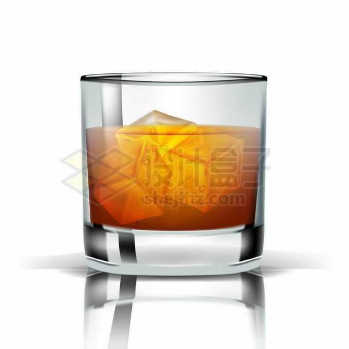 玻璃酒杯中的洋酒和冰块1575963矢量图片免抠素材