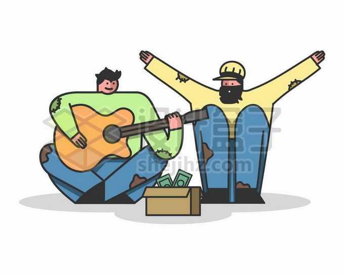 两个流浪者弹着吉他街头表演赚钱的乞丐手绘插画2874159矢量图片免抠素材