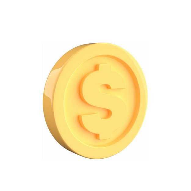 一个高清3D立体卡通金币金黄色硬币5098617免抠图片素材