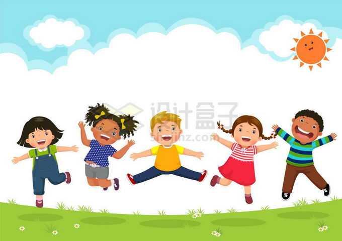 草地上的一群跳起来的卡通小朋友云朵儿童节背景图5223289矢量图片免抠素材