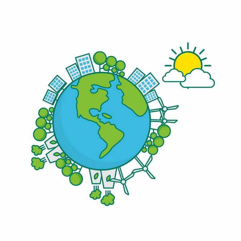 卡通绿色地球上的城市和绿色能源风力太阳能发电技术7568663矢量图片免抠素材