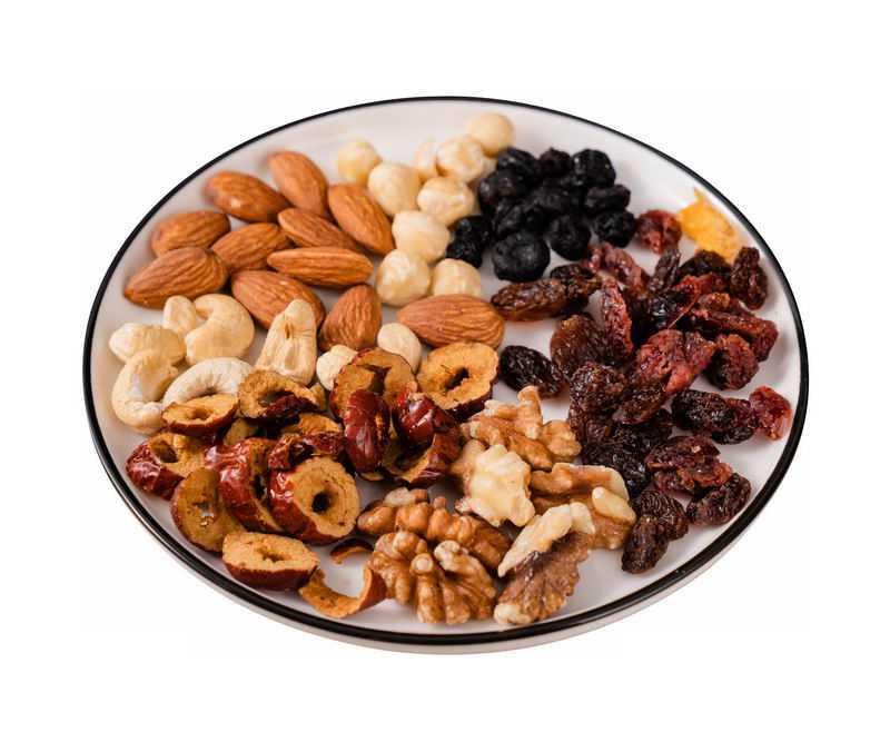 盘子中的杏仁枣干核桃腰果等美味干果美食零食3814044png免抠图片素材