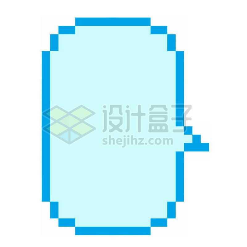 蓝色像素风格对话框文本框6613240免抠图片素材