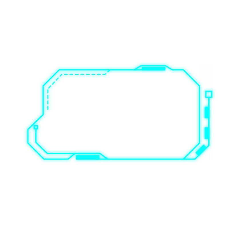 天蓝色科技风格发光线条信息框文本框7338307免抠图片素材