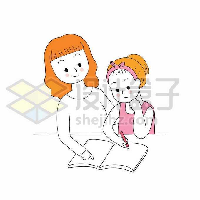 卡通妈妈正在监督和辅导女儿写作业手绘线条插画2608674矢量图片免抠素材