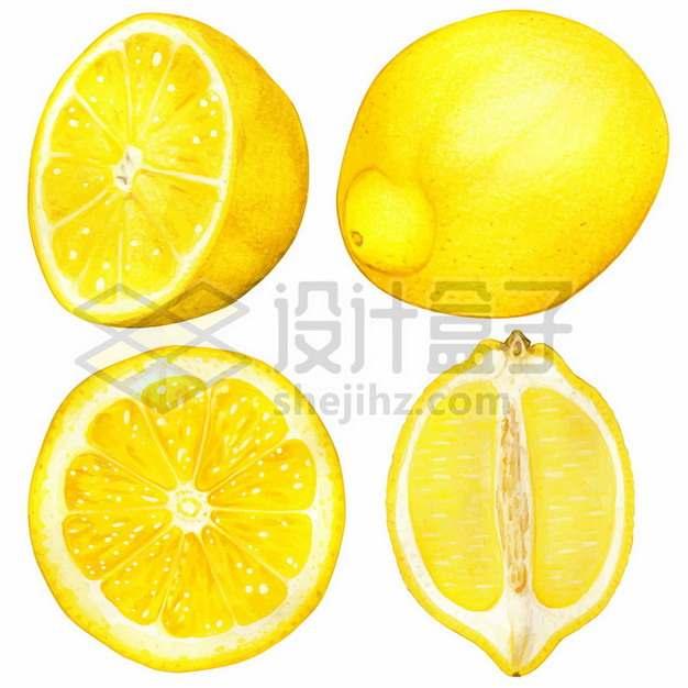 4个不同视角切开的黄色柠檬美味水果4728363矢量图片免抠素材
