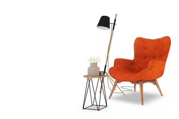 红色的沙发椅和小茶几艺术范儿的台灯等家具5836750免抠图片素材