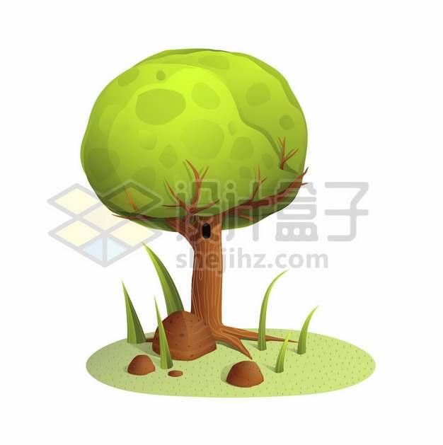 卡通大树绿色圆形树冠1129258矢量图片免抠素材