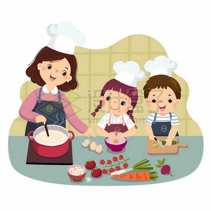 两个卡通小朋友跟着妈妈学做饭帮忙做家务儿童节插画6555788矢量图片免抠素材