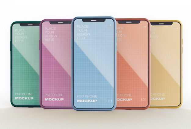 各种颜色的苹果iPhone12手机显示样机8795423图片素材