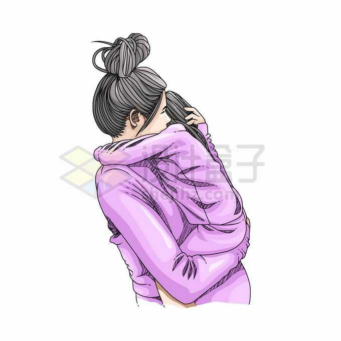 女儿在妈妈怀里紧紧的抱着妈妈母亲节手绘插画5428176矢量图片免抠素材