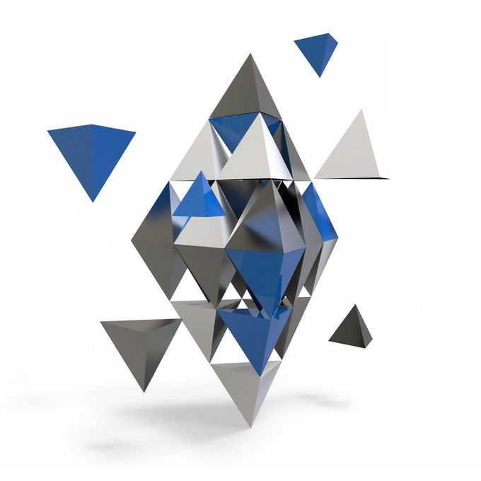3D立体风格各种金字塔形组成的形状4468051PSD免抠图片素材
