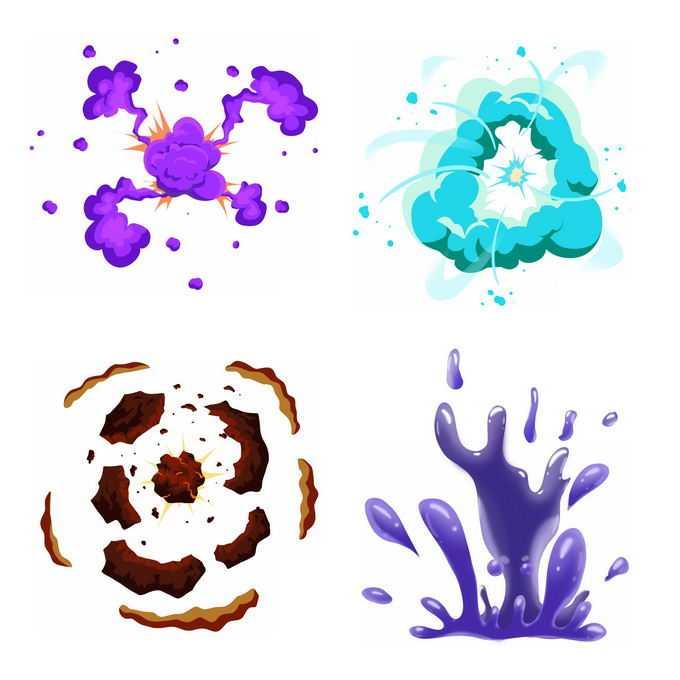 4种卡通漫画风格的彩色爆炸效果粘液爆炸效果5015335矢量图片免抠素材