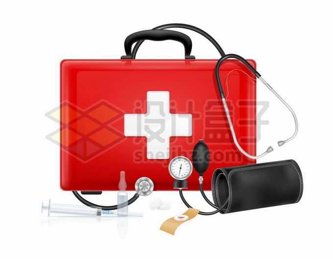 一个红色的医疗箱治疗箱听诊器和机械式血压计8324807矢量图片免抠素材免费下载
