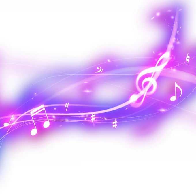 跳动的紫色红色音乐音符发光绚丽五线谱效果4115846免抠图片素材