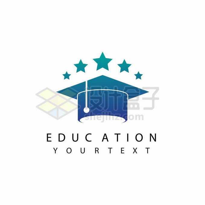 深绿色博士帽和五星创意教育培训机构标志logo设计6427229矢量图片免抠素材