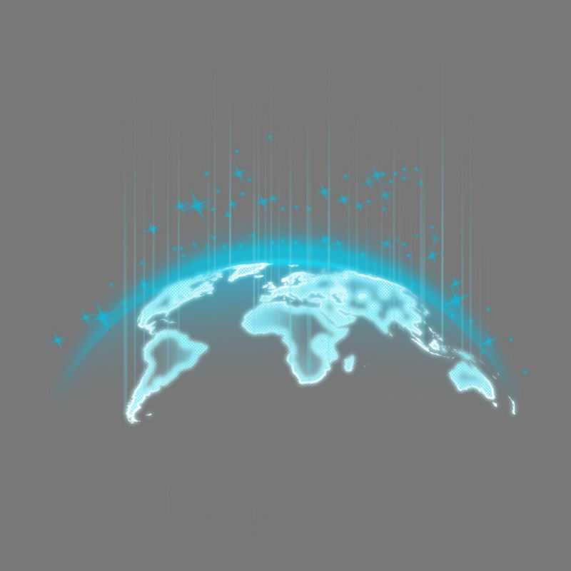 发出蓝光的地球科技感十足的发光世界地图2927831免抠图片素材