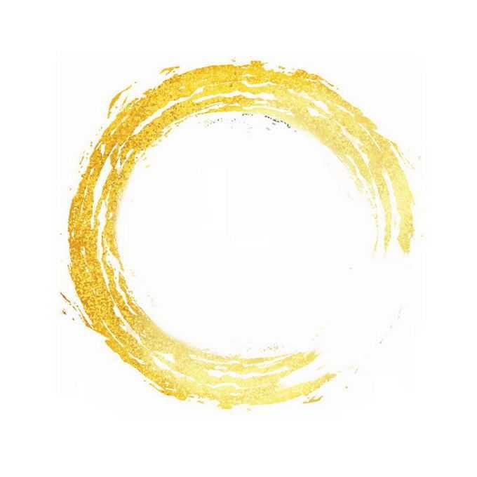 金色金箔笔刷纹理圆形文本框装饰7189263免抠图片素材