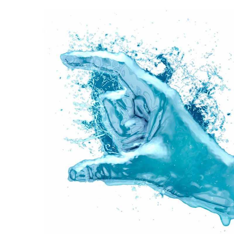 液化效果蓝色手指手势液态水效果6053804免抠图片素材