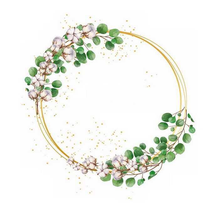 棉花和绿叶组成的圆形文本框标题框3754482免抠图片素材
