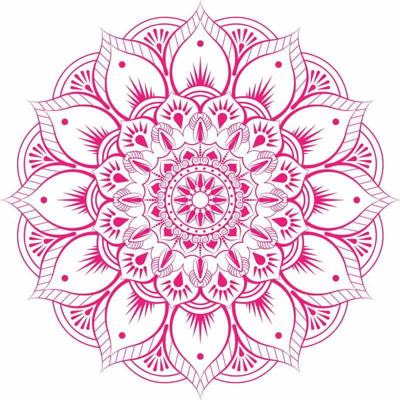 复古风格的复杂红色蔓藤花纹宗教花朵图案5780242矢量图片免抠素材