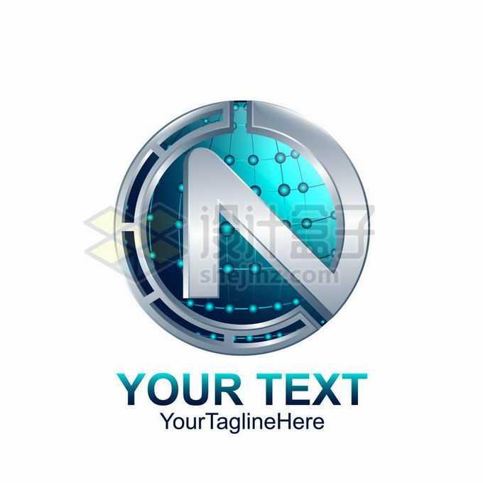 3D立体科技风格大写字母N标志logo设计1773731矢量图片免抠素材