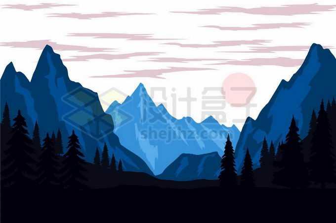深蓝色的高峰远山大山和山谷森林剪影风景2715686矢量图片免抠素材免费下载