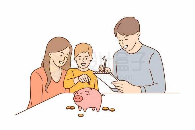年轻爸爸妈妈正在培养孩子的理财观念手绘线条插画3622979矢量图片免抠素材免费下载