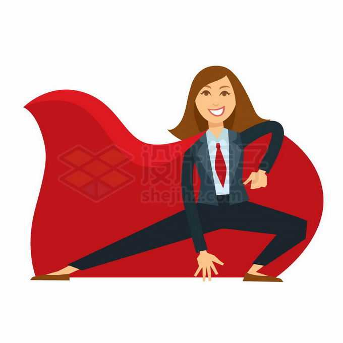 披着红色披风的商务人士女超人象征了销售业绩冠军3016402矢量图片免抠素材免费下载