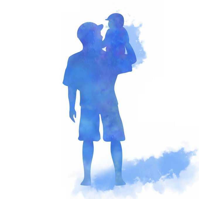 父亲节儿子坐在爸爸肩膀上背影水彩画插画4944375矢量图片免抠素材