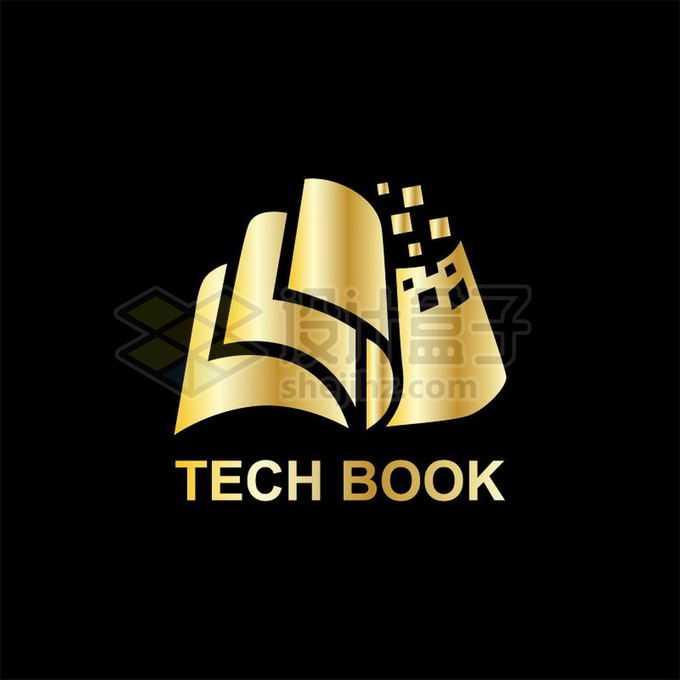 金色翻开的书本纸张创意文化教育类logo标志设计4691347矢量图片免抠素材