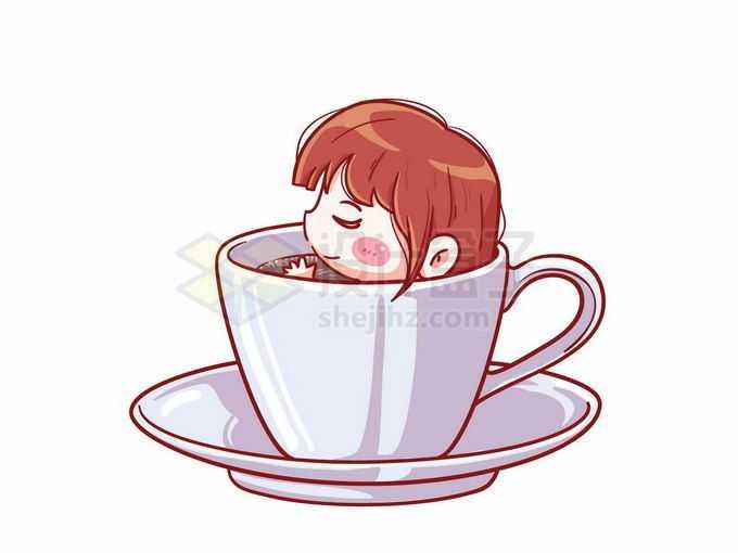 可爱的卡通女孩在茶杯中泡澡休闲时刻2312864矢量图片免抠素材免费下载