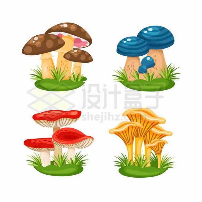 4款卡通风格草地上长出来的蘑菇7850800矢量图片免抠素材