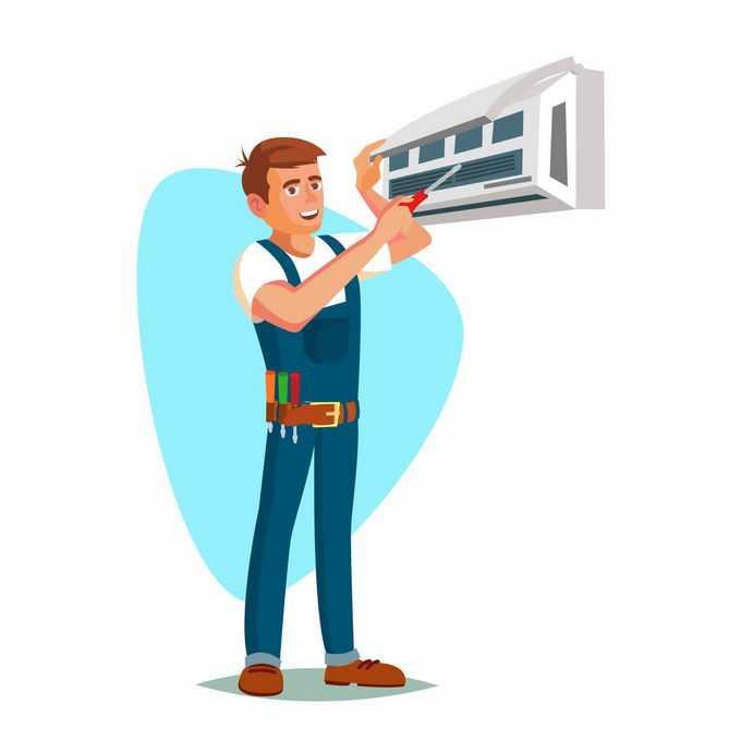卡通工人正在维修空调5041763矢量图片免抠素材免费下载