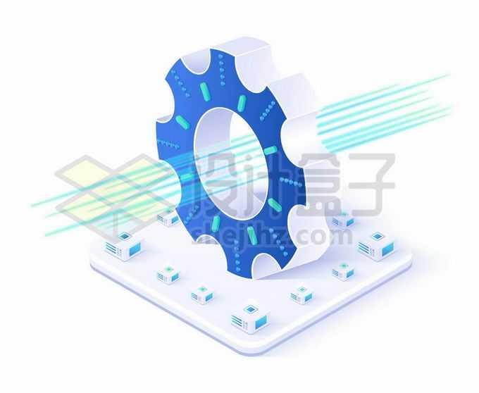2.5D风格立体齿轮和中间的蓝色光线象征了光通信和大数据技术5738365矢量图片免抠素材免费下载