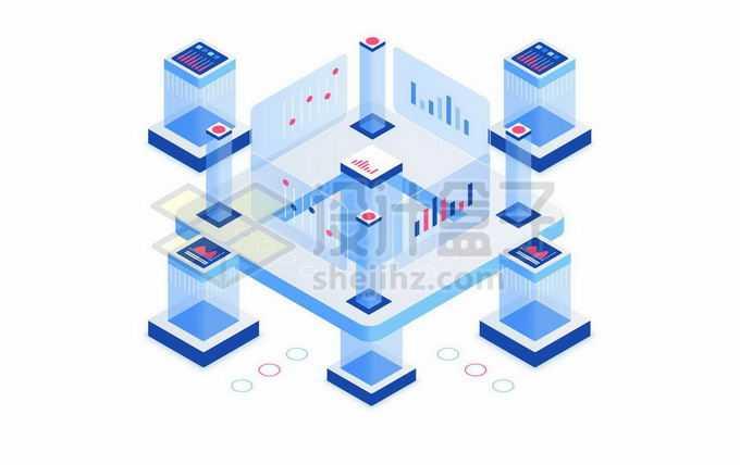 2.5D风格大数据技术在商业展示上的应用1463191矢量图片免抠素材免费下载