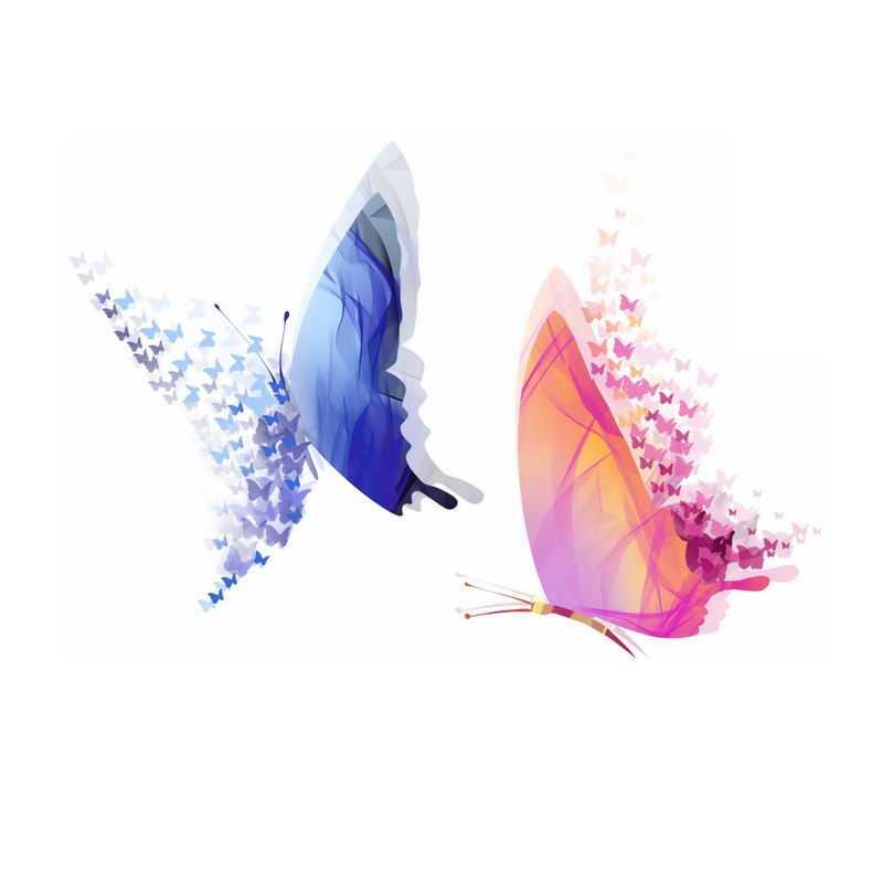 2只蓝色和红色蝴蝶抽象图案6458022免抠图片素材