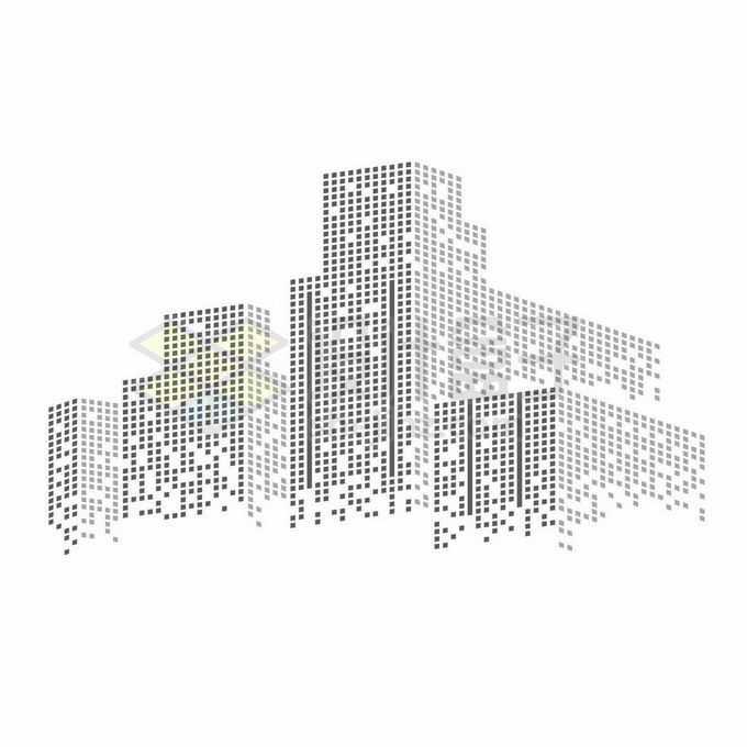 黑色灰色方块组成的城市天际线高楼大厦建筑图案8160318矢量图片免抠素材